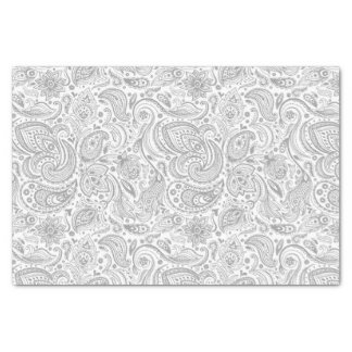 Silver Gray And White Floral Paisley Pattern Tissue Paper