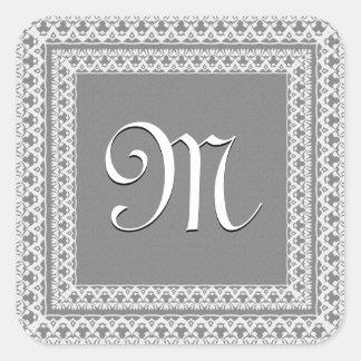 Silver Gray and WHite Ornate Monogram Square Sticker