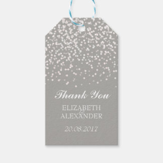 Silver Gray and White Wedding Confetti Pattern Gift Tags