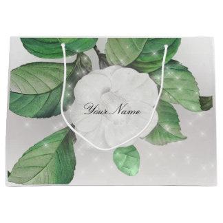 Silver Gray Apple Flower White Sparkly Name Custom Large Gift Bag