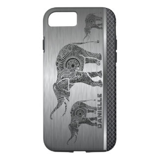 Silver Gray Background & Black Floral Elephant iPhone 8/7 Case