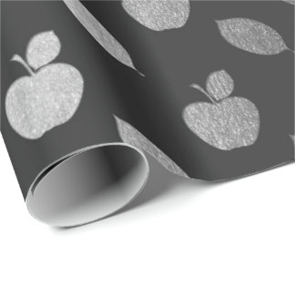 Silver Gray Black Metallic Apple Fruits Foil Wrapping Paper