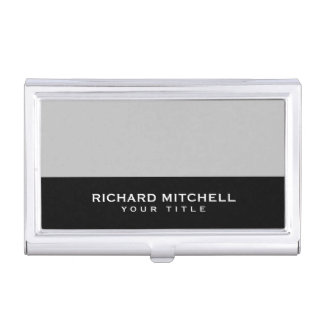 Silver gray black modern masculine personalized business card holder