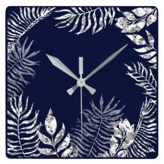 Silver Gray Blue Navy  Palm Botanical Metallic Square Wall Clock