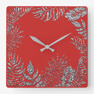 Silver Gray  Bright Red Palm Botanical Glitter Square Wall Clock