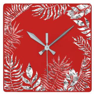 Silver Gray  Bright Red Palm Botanical Metallic Square Wall Clock