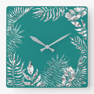 Silver Gray  Bright Teal Palm Botanical Metallic Square Wall Clock