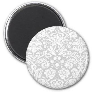 Silver gray damask pattern magnet