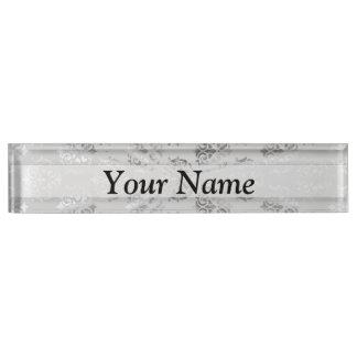 Silver gray damask pattern nameplate