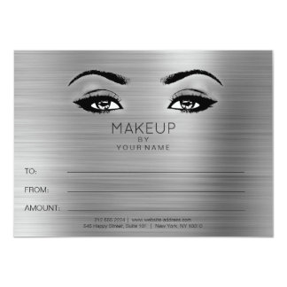 Silver Gray Eyes Makeup Beauty Certificate Gift Card
