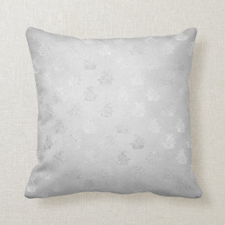 Silver Gray Fantasy Dragon Graphite Metallic Shiny Throw Pillow