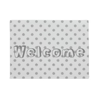 Silver Gray Faux Glitter Polka Dots Welcome Doormat