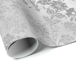 Silver Gray Floral Flowers Glass Monochromatic VIP Wrapping Paper