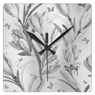 Silver Gray Floral Graden Monochromatic Butterfly Clock
