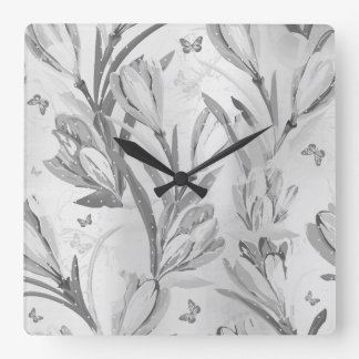 Silver Gray Floral Graden Monochromatic Butterfly Square Wall Clock