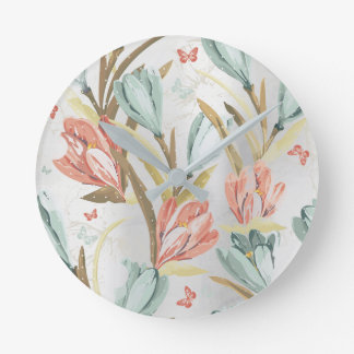 Silver Gray Floral  Iris Pearly Blue Ivory Brown Round Clock
