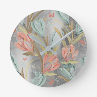 Silver Gray Floral  Iris Pearly Blue Ivory Brown Wallclocks