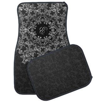 Silver Gray Floral Lace Black Damasks Monogrammed Car Mat