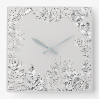 Silver Gray  Floral Palm Botanical Metallic Steel Square Wall Clock