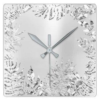 Silver Gray  Floral Palm Monochrom Metallic Steel Square Wall Clock