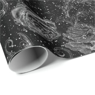 Silver Gray Floral Roses Black White Glitter Glam Wrapping Paper