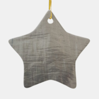 Silver Gray Foiled Fabric Look Ceramic Star Ornament
