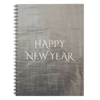 Silver Gray Foiled Fabric Look Notebooks