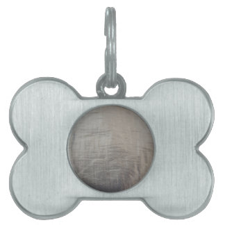 Silver Gray Foiled Fabric Look Pet ID Tag