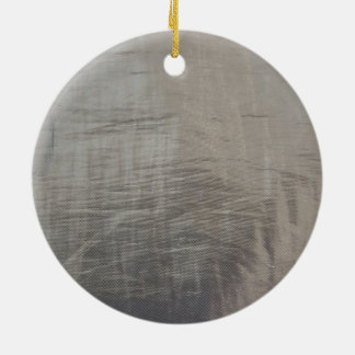 Silver Gray Foiled Fabric Look Round Ceramic Ornament