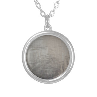 Silver Gray Foiled Fabric Look Silver Plated Necklace