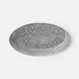 Silver Gray Glam Abstract Graphite Spiral Glitter Paper Plate