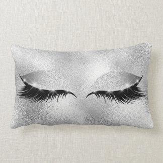 Silver Gray Glass Lashes Beauty Glitter Makeup Lumbar Pillow