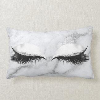Silver Gray Glitter Black Eyes Makeup Marble Lumbar Pillow