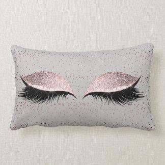 Silver Gray Glitter Black Foxier Blush Makeup Lumbar Pillow