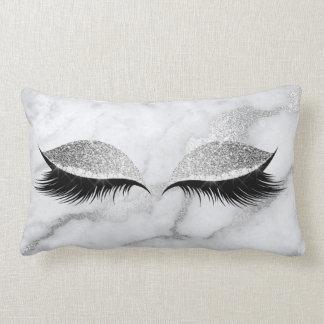 Silver Gray Glitter Black Glam Make Up Marble Lumbar Pillow