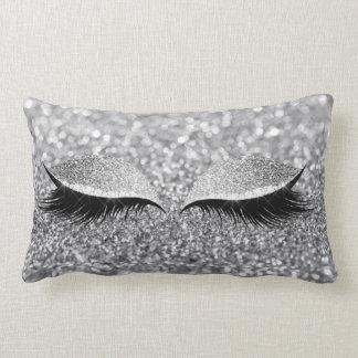 Silver Gray Glitter Black Glam Makeup Monochroatic Lumbar Pillow