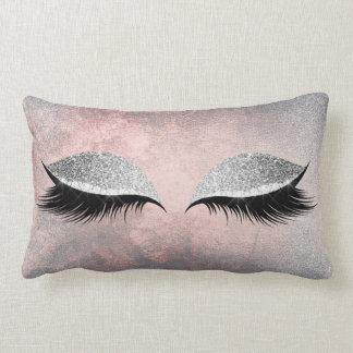 Silver Gray Glitter Black Makeup Crystals Pink Lumbar Pillow