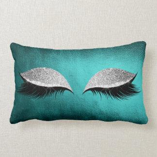Silver Gray Glitter Black  Makeup Crystals Teal Lumbar Pillow