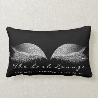 Silver Gray Glitter Black Makeup Lashes Beauty Lumbar Pillow