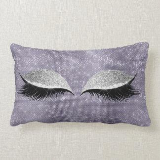 Silver Gray Glitter Black MakeUp Purple Sequin Lumbar Pillow