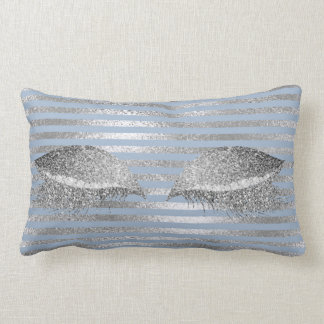 Silver Gray Glitter Blue Sky Makeup White Marble Lumbar Pillow