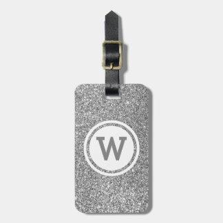 Silver Gray Glitter Circle Monogram Luggage Tag
