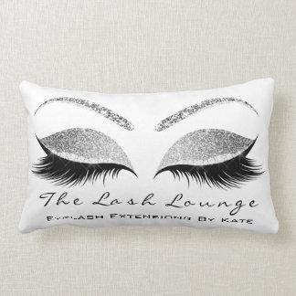 Silver Gray Glitter Glam Makeup Lashes Beauty Lumbar Pillow