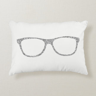 Silver Gray Glitter Glasses White Accent Pillow