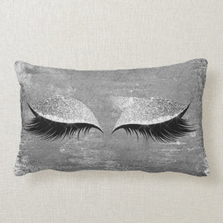 Silver Gray Glitter Lashes Makeup Eyes Distressed Lumbar Pillow