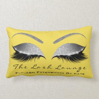 Silver Gray Glitter Mustard Makeup Lashes Beauty Lumbar Pillow
