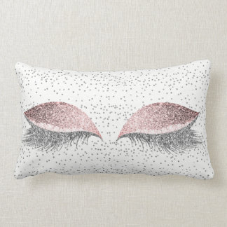 Silver Gray Glitter Pink Rose Glam Makeup Lashes Lumbar Pillow