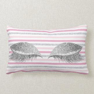 Silver Gray Glitter Pink Stripes Makeup White Lumbar Pillow