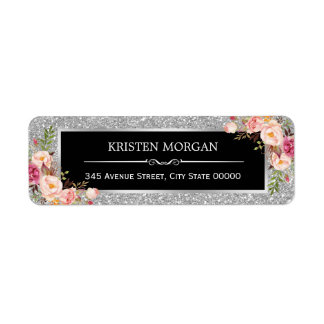 Silver Gray Glitter Sparkles Classy Pink Floral