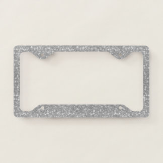 Silver Gray Glitter & Sparkles Texture Print License Plate Frame